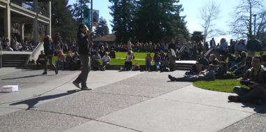 Students rally at Humboldt State University, March 1