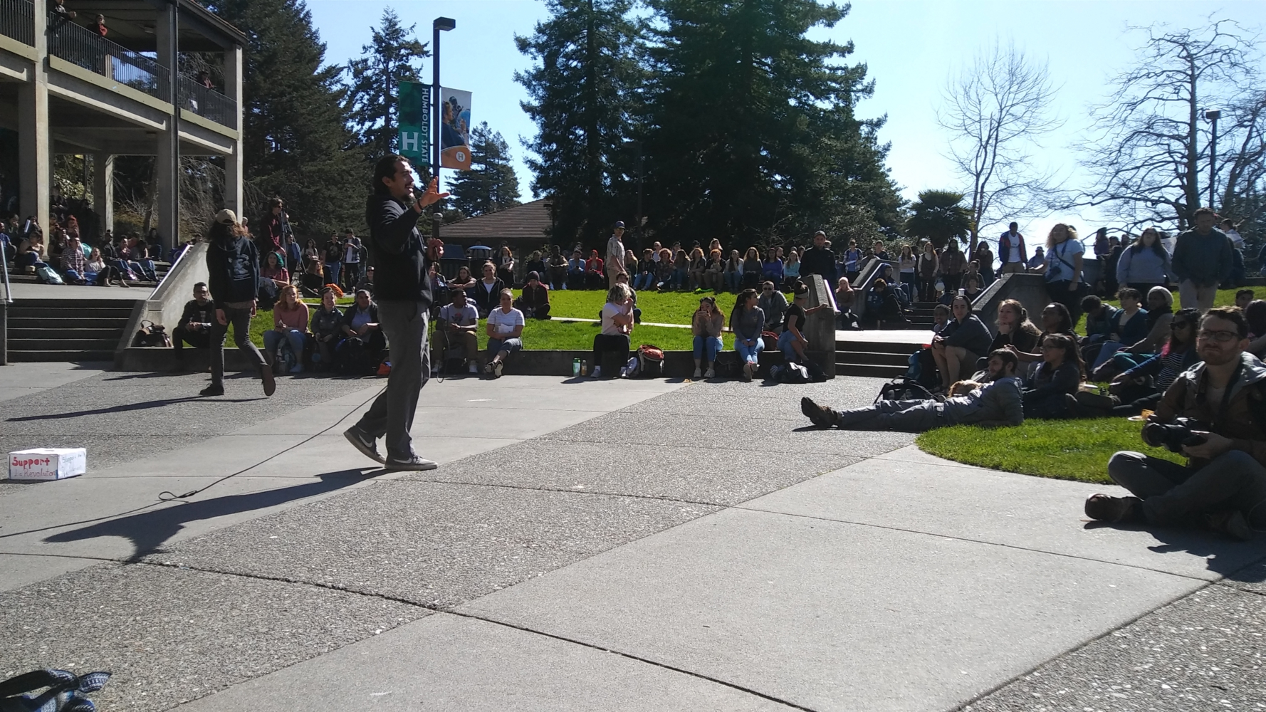 Photo of Humboldt State students walk out against fee increases
