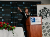 Dilma Rousseff speaks in New York. (Credit: Defend Democracy in Brazil)