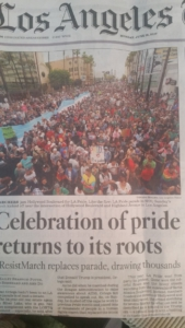 Los Angeles Times headline and photo shows significance of Resist March.