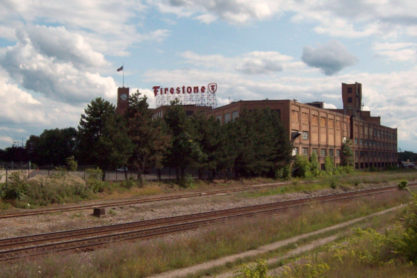 An abandoned Firestone factory