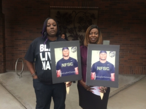 Katrina Johnson (left), cousin of Charleena Lyles, spoke at the July 13 press conference in Kent.