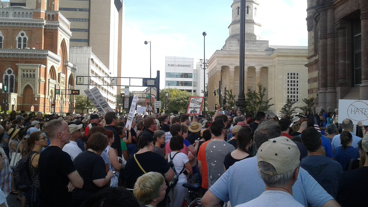 Photo of Ohio progressives stand with Charlottesville against white supremacy