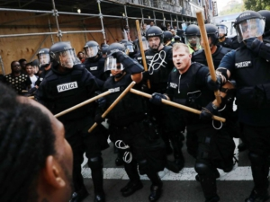Boston police attacking anti-fascist protesters, Aug. 19