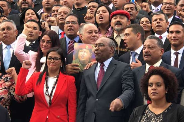 President of the Constituent Assembly Delcy Rodriguez (front row, center-left) and other ANC members at its swearing-in ceremony