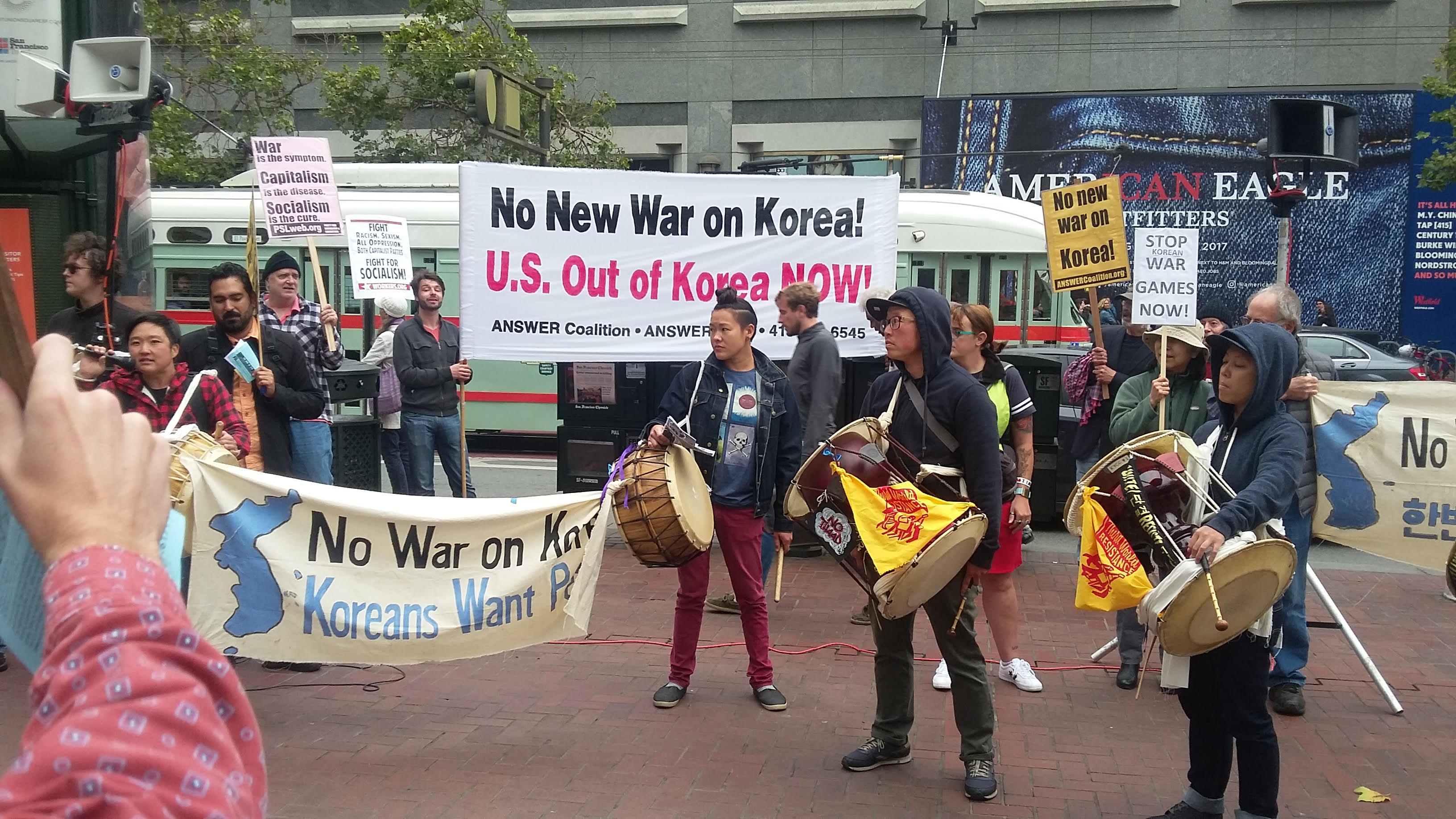 Photo of Bay Area stands against war on Korea