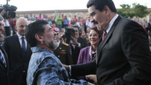 Soccer superstar Diego Maradona with Nicolas Maduro.