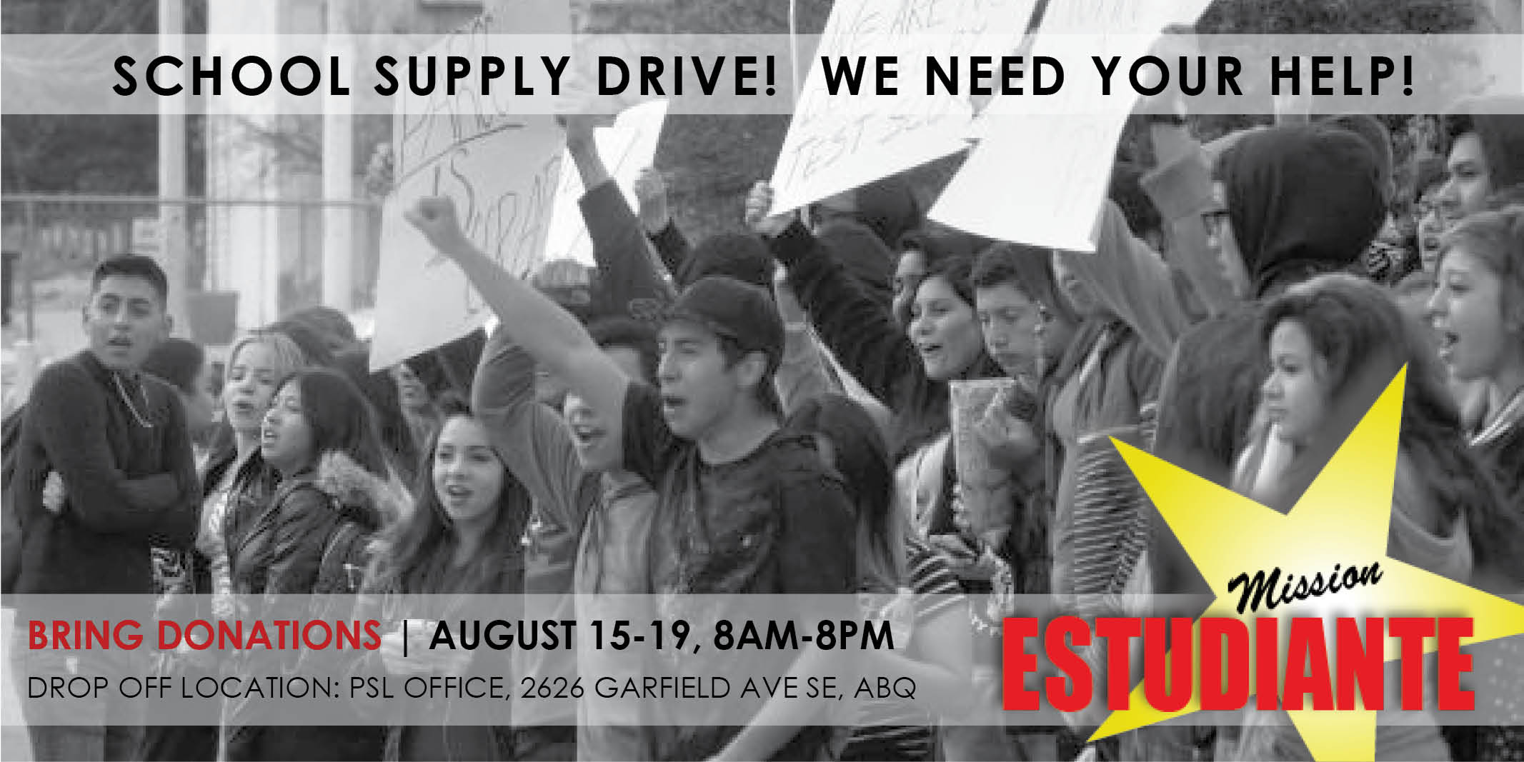 Mission Estudiante: PSL School Supply Drive, August 15-19