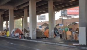 A portion of the homeless encampment at South Spokane St, which was demolished and cleared later that day.