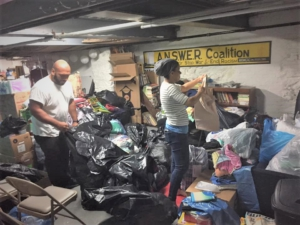 Sorting donations at the Justice Center