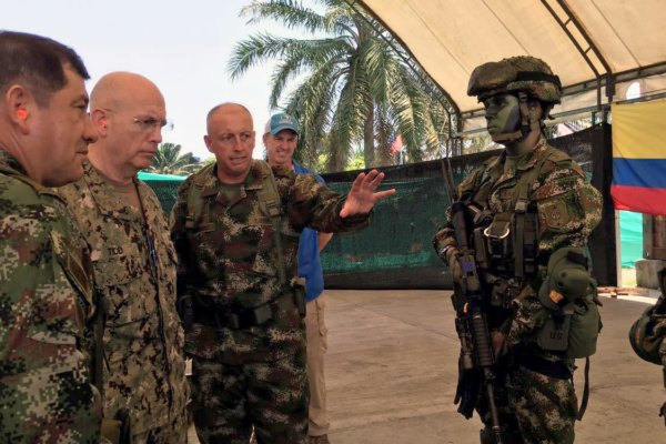 Navy Admiral Kurt W. Tidd, commander of U.S. Southern Command, meets with Colombian military leadership in Tumaco, Colombia, in April 2016