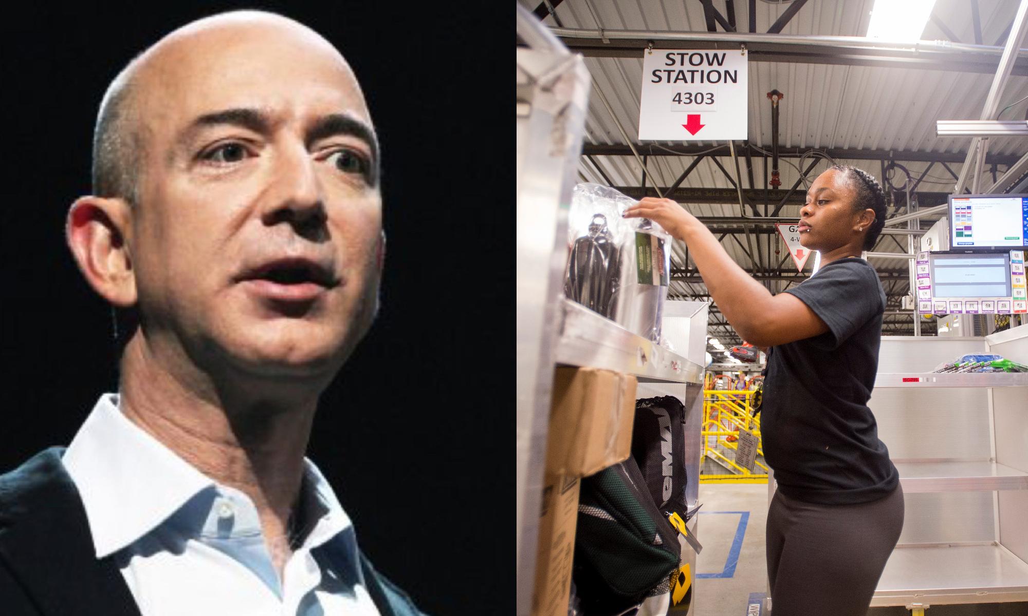 Photo of Amazon robber baron Jeff Bezos' abusive labor practices