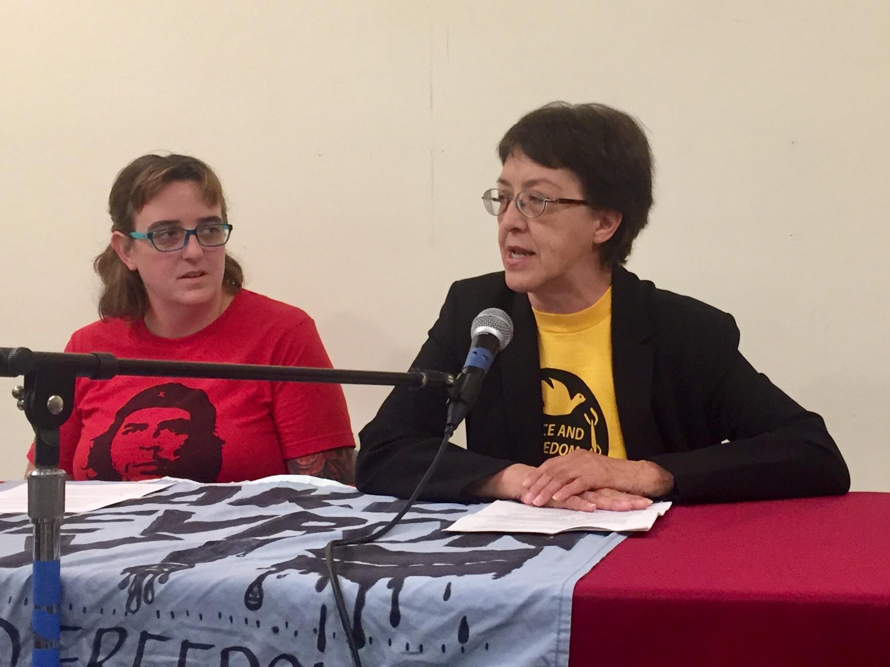 Photo of Gloria La Riva's talk at Peace and Freedom Party 50th Anniversary Commemoration