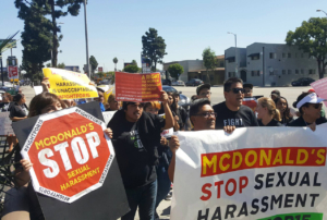 Organized by Fight for $15, men and women workers unite to stop sexual harassment at McDonald's.