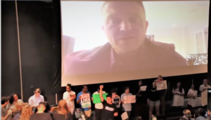 Students and community members disrupt Tommy Robinson's talk at Columbia University.