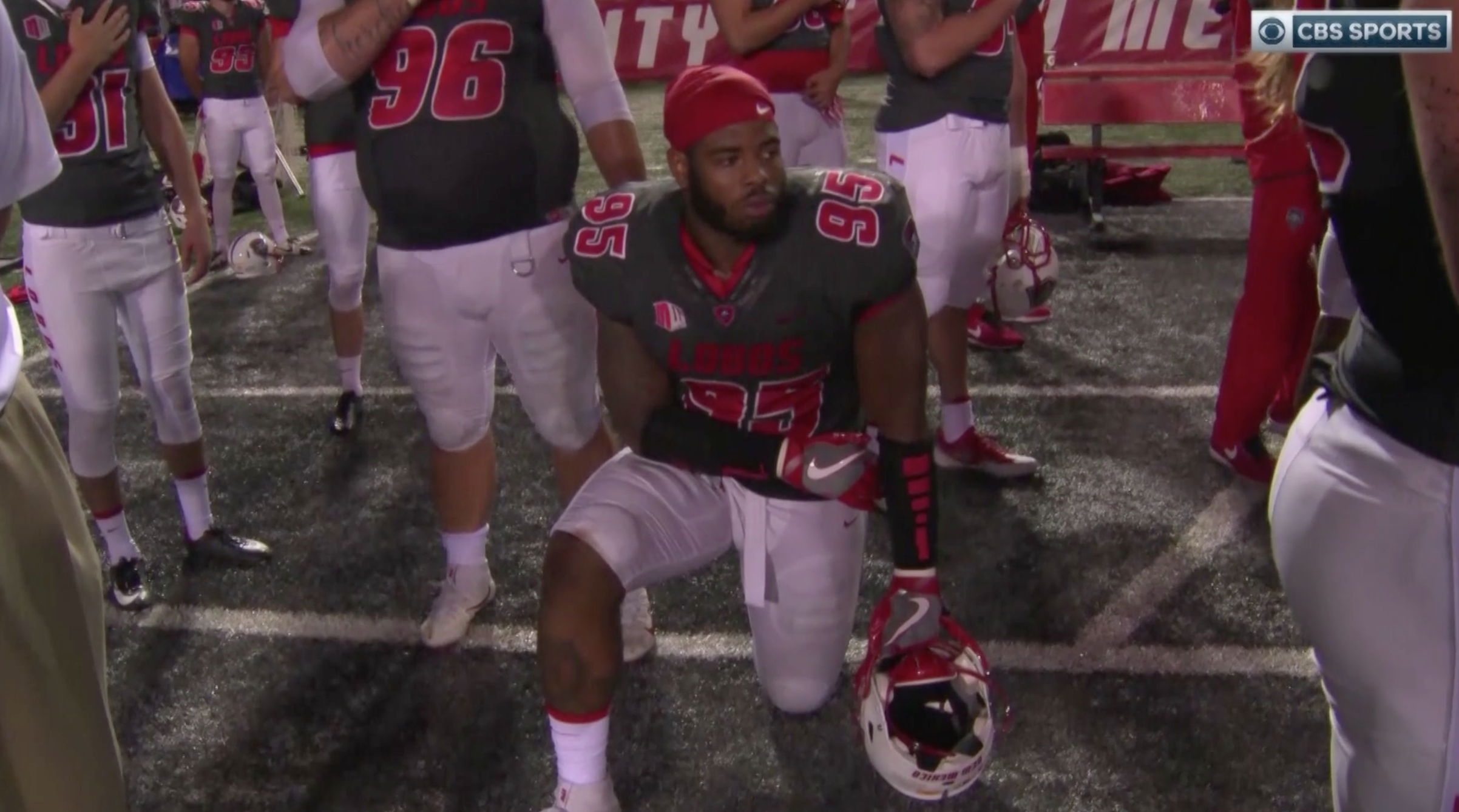 New Mexico players first college athletes to kneel against racism