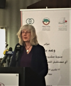 Joyce Chediac speaking at conference in Beirut