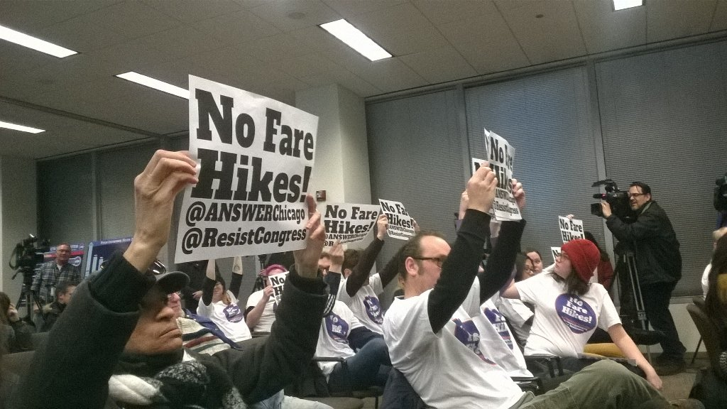 Photo of Protesters disrupt CTA budget hearing to stop fare hikes
