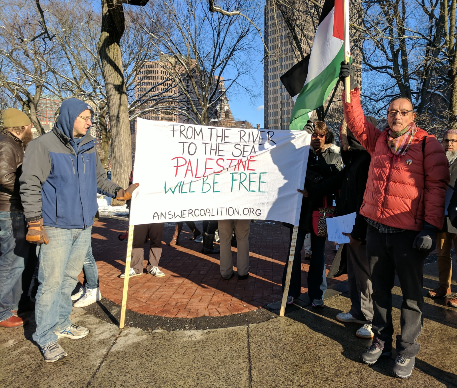 "New Haven Conn. protest says ""Jerusalem is Palestine"""