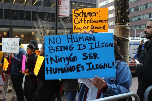 A protest outside of Sen. Schumer's office in December