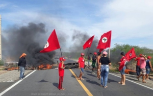 All over the country the landless movement (MST) blocked roads in support of Lula.