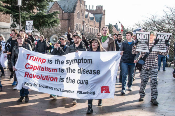 PSL marches to Red Square at University of Washington to protest Patriot Prayer, Feb. 10. Credit: Elliot Stoller, used with permission.