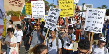 Demanding immigrant rights. Credit: ANSWER LA.