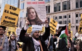 Recent protest in Washington, DC, against AIPAC. Liberation News photo: Vincent Tsai