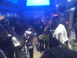 Stevante Clark addresses crowd in front of Golden1 arena. Liberation photo