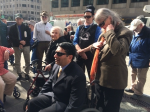 Zahid and Ann Chaudhry, March 12, pre-court rally. Liberation photo: Jane Cutter