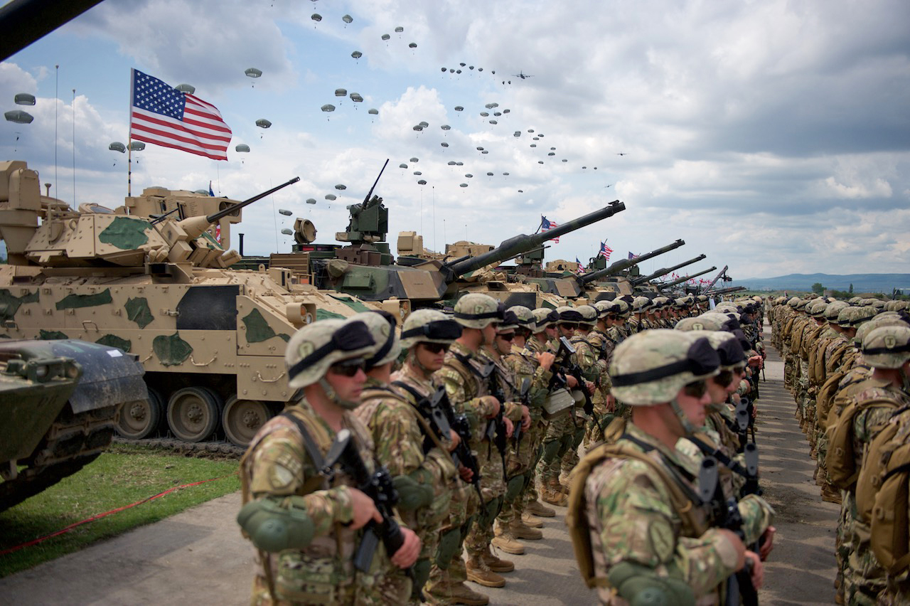 "In a seismic strategy shift, US now racing to prepare for major power confrontation with Russia and China. Pictured: U.S., UK and Georgian troops in ""Noble Partner"" war exercises, one of US Army Europe events in 40 countries, May 2016."