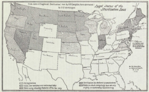 A map from a 1929 Swedish royal commission report displays the U.S. states that had implemented sterilization legislation by then. By w:Harry H. Laughlin. - Betänkande med förslag till steriliseringslag / avgivet av tillkallade sakkunniga den 30 april 1929[1]Stockholm, 1929 Svenska 111 s.Serie: Statens offentliga utredningar, 0375-250X ; 1929:14, Public Domain, https://commons.wikimedia.org/w/index.php?curid=41364052
