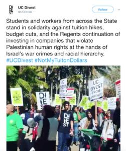 Screen shot of UC Divest Tweet