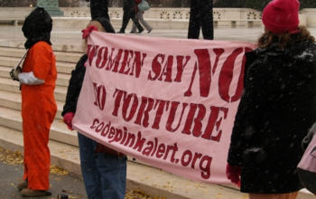 Women say no to torture outside the third Congressional hearing on Guantanamo, Washington DC, 2007. Photo: Jim Kuhn, CC-2.0.