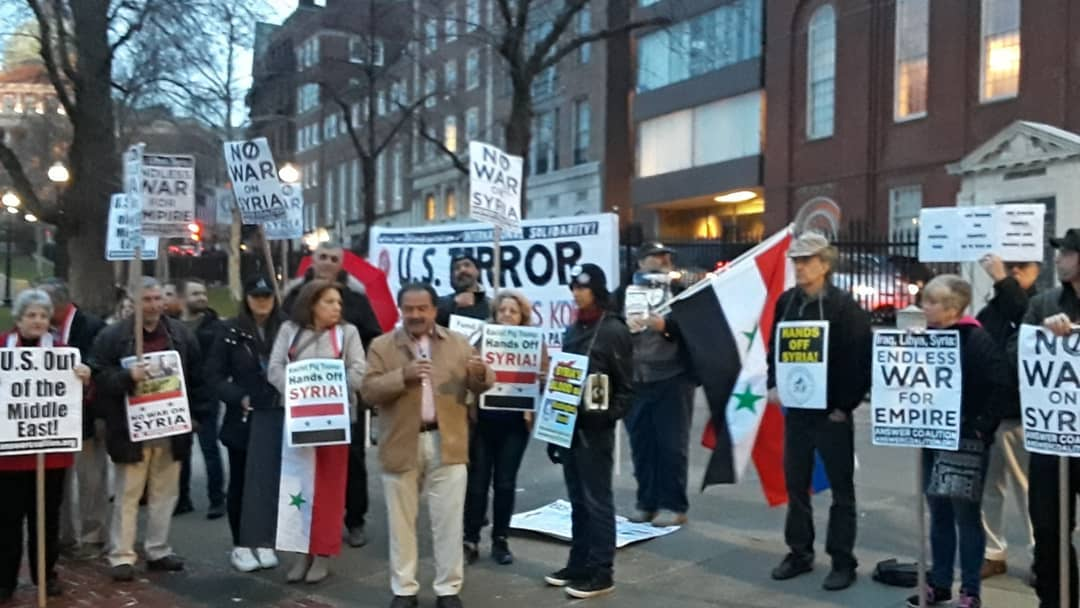 Photo of Boston anti-war activists hold back to back emergency protests against war on Syria