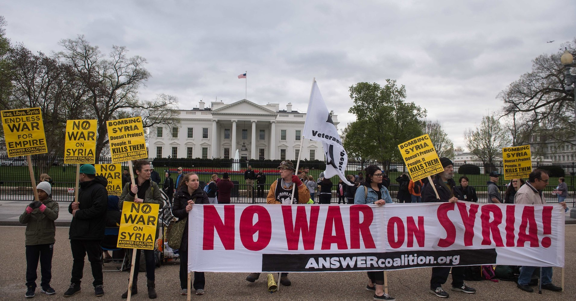 Nationwide protests happening now against the outrageous bombing of Syria