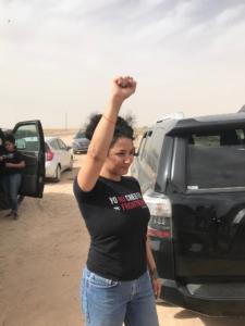 Alejandra Pablos after her release on April 19. Liberation photo: Steven Levin