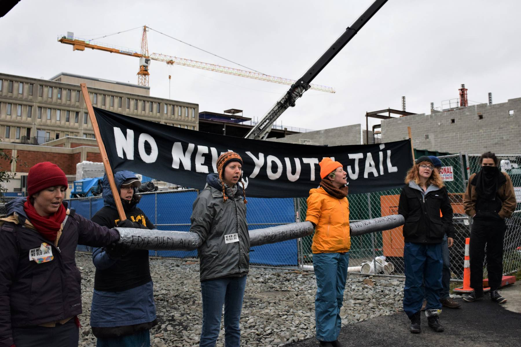 "Photo of ""People's Moratorium"" blocks construction of new youth jail in Seattle"