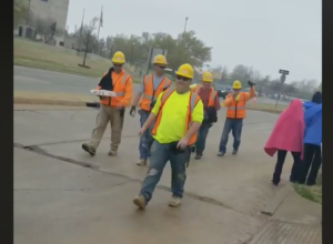 Construction workers walk off the job at Oklahoma State Capitol in solidarity with striking teachers. Screen shot: Left Voice via BATs Facebook page.