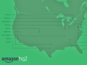 Map of cities competing for Amazon's HQ Photo source: https://www.amazon.com/b?ie=UTF8&node=17044620011