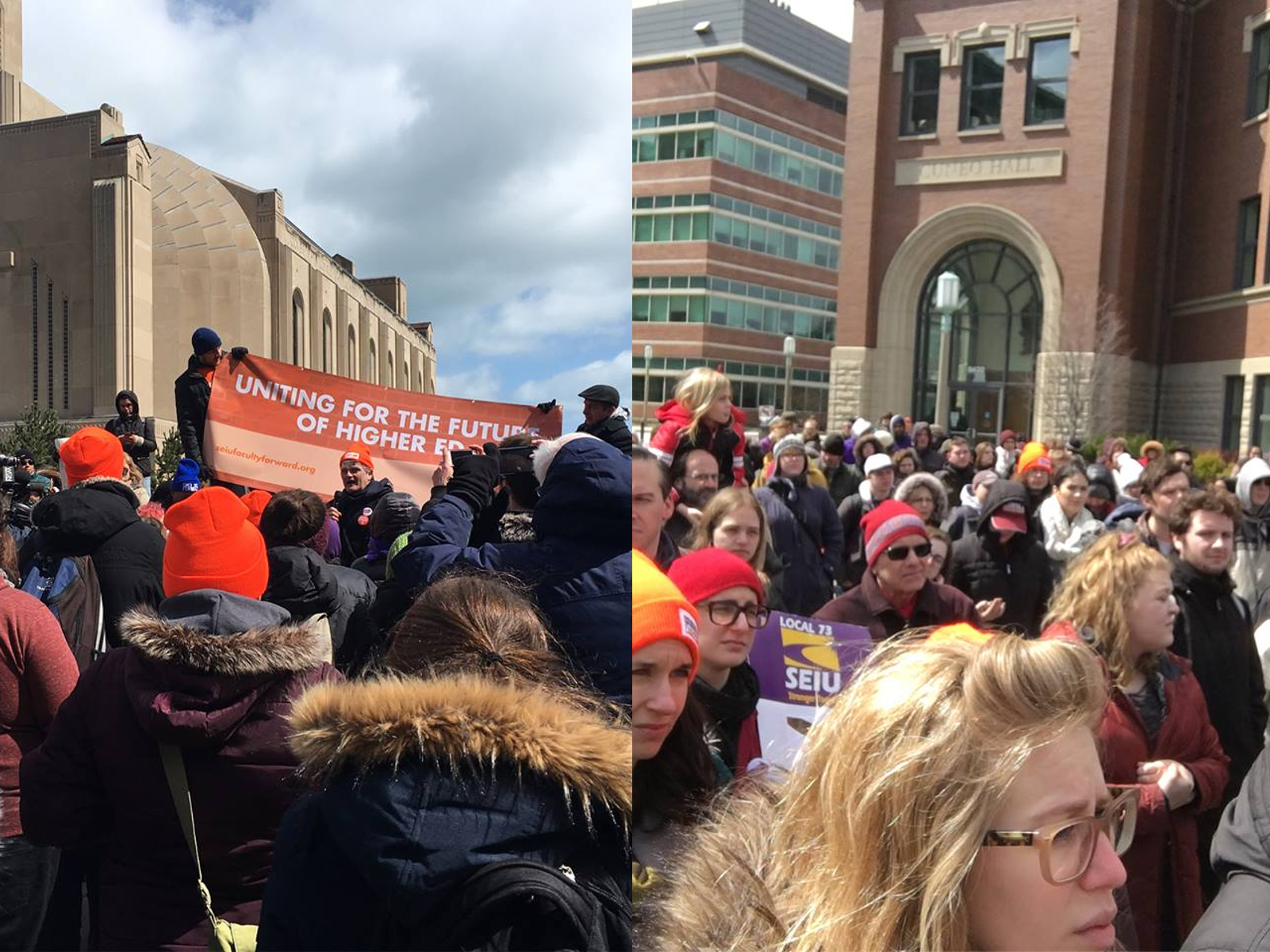Academic workers at Loyola University Chicago stage walk out
