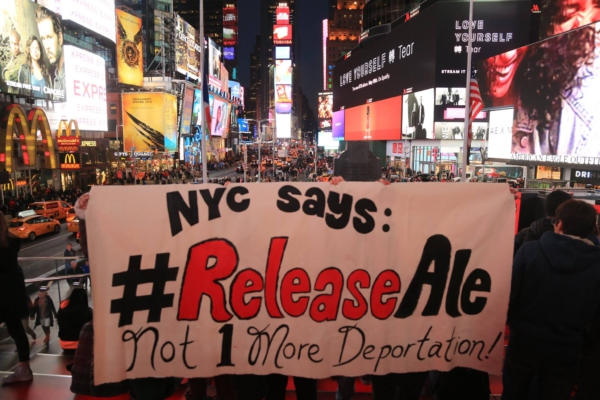 New York City banner drop at Times Square. Photo: Oscar Diaz.