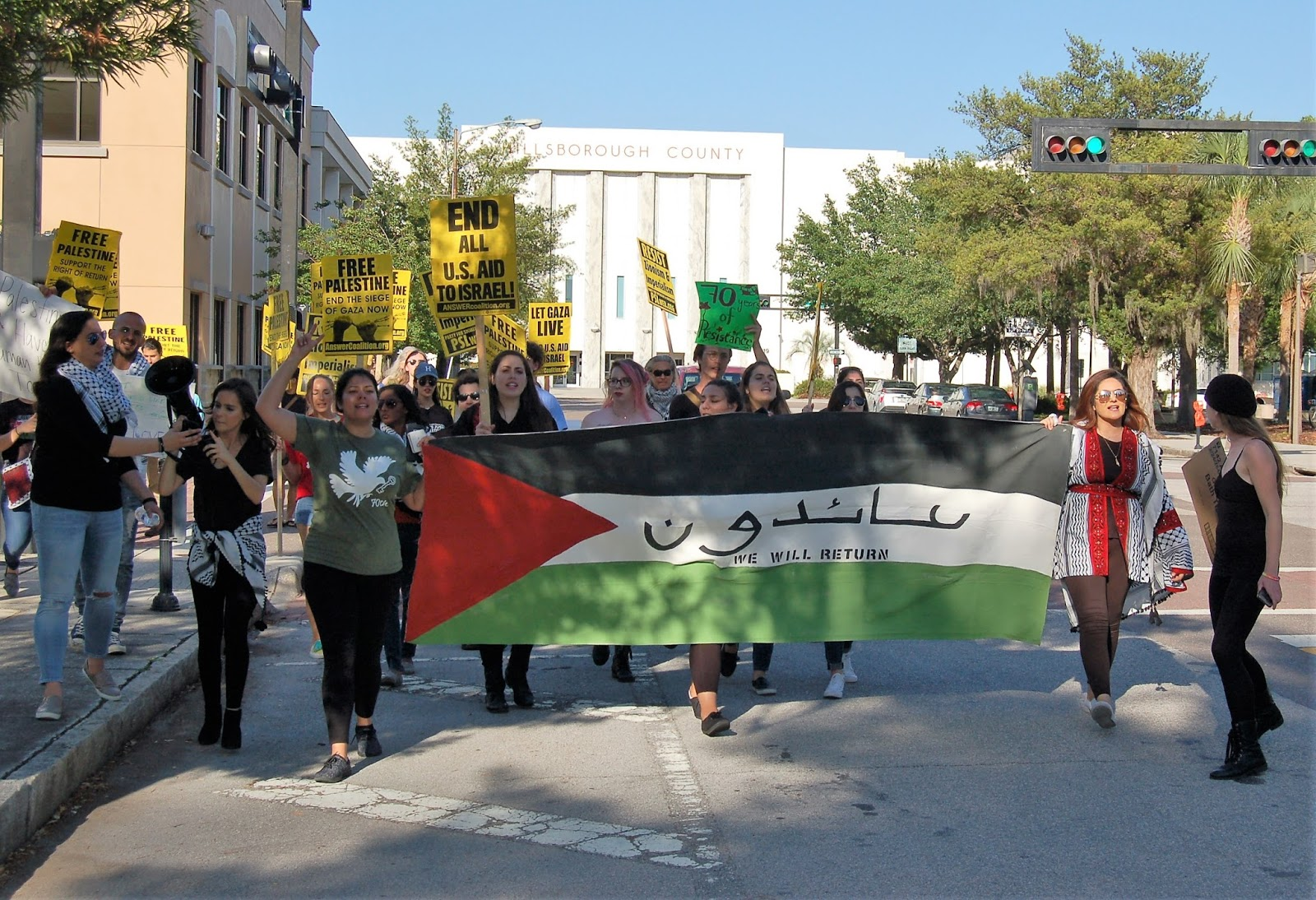 Photo of Palestinian activists in Tampa demand right of return