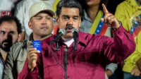 President Maduro on May 20, 2018, speaks to crowd after his re-election victory