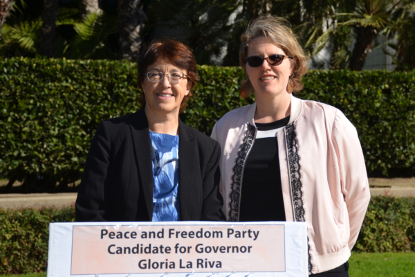Gloria La Riva and Nathalie Hrizi. Liberation photo.