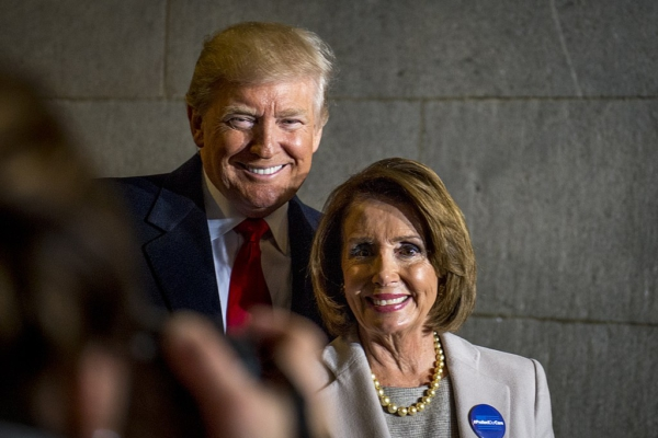 President-elect Donald Trump and Minority Leader Nancy Pelosi on Inauguration Day, 2017. Public domain image.