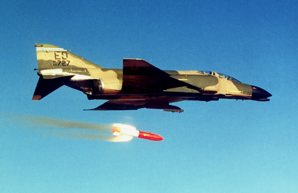 B83 nuclear bomb test with F-4c Phantom jet. Photo: Wikipedia Commons.