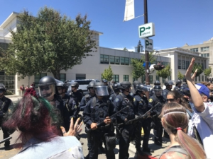 Cops blocking anti-fascist protesters. Liberation photo.