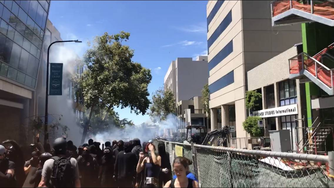 Berkeley counterprotest tells racists 'go home!'