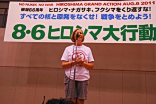 Sheehan speaking at earlier Hiroshima Grand Action, Aug. 6, 2011. | Photo: Cindy Sheehan's Soapbox